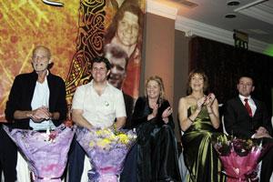 The five hounourees - Brian Keenan, Joe Desmond (accepting the award on behalf of Kathleen Glavey), Ella O'Dwyer, Áine Ní Gabhann and Jim Slaven