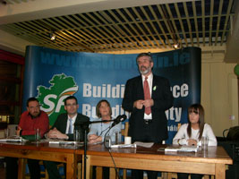 Gerry Adams at the launch of the new Irish language cumann in Belfast