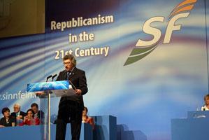 Mickey Brady speaking at the 2008 Sinn Féin Ard Fheis