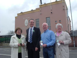 Ann Murray, Gerry Kelly, Liam Shannon and Annie Cahill promoting the Easter Lily in Belfast last week