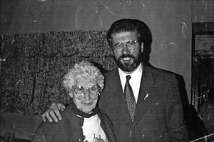 Ellie Lyden pictured with Gerry Adams
