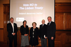 MEP Mary Lou McDonald with Sinn Féin councillors John Dwyer, Noirin Sheridan, Anthony Kelly and Maurice Roche at the campaign launch in the south-east
