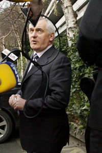 2008: Bertie Ahern tries to fend off questions from the media at the Mahon Tribunal