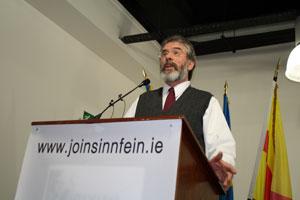 Gerry Adams addressing the meeting