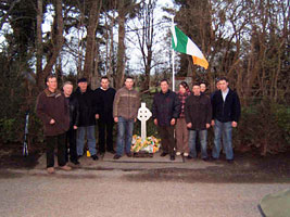 Mickey Terence McCreesh and Thomas Conlon, who assisted with the commemoration, and some of the current members of the Morris/Harvey Sinn Féin Cumann at the memorial to Barney Morris