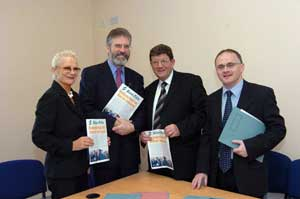 Claire McGill, Gerry Adams, Pat Doherty and Barry McElduff