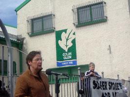 Bairbre de Brún speaks at the rally at Colin Glen Park