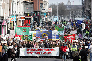 More than 10,000 farmers took part in a protest march in Dublin against EU proposals on world trade
