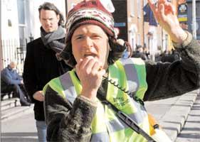Jim Grogan raising the voice of SIPTU construction workers in Ireland