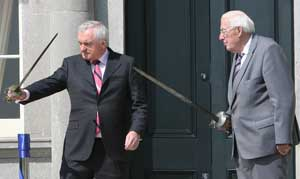 Bertie Ahern and Ian Paisley at the opening ceremony of the new Boyne Visitor Centre