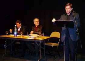 Ireland Institute meeting : Pat Doherty, Robert Ballagh (chair) and Daltún Ó Ceallaigh