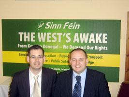 THE WEST'S AWAKE: Senator Pearse Doherty and Councillor Pádraig Mac Lochlainn at the Donegal launch