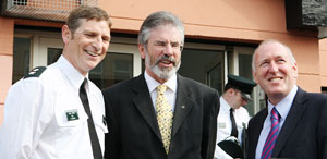 Gerry Adams with Paul Goggins at the launch of West Belfast's Community Safety Forum