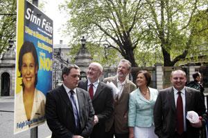 LAUNCH — Aengus Ó Snodaigh, Caoimhghín O Caoláin, Gerry Adams, Mary Lou McDonald and campaign director Pádraig Mac Lochlainn before the press conference on Monday