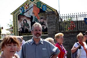 Gerry Adams at the mural dedicated to IRA Volunteers Jimmy Quigley, Eddie 'Mundo' O'Rawe and James 'Spotter' Murphy
