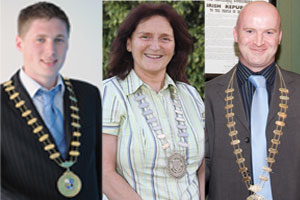 New Mayor of Monaghan County Council Matt Carthy, Rose McMahon and Niall Quigley