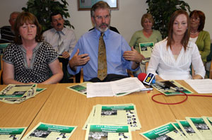 Briege Voyle, Gerry Adams and Carmel Quinn at Wednesday's press conference