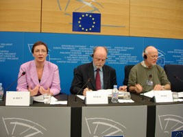 Bairbe de Brún MEP at a press conference in Strasbourg on Tuesday with French and Dutch colleagues Francis Wurtz and Erik Meijer from the GUE/NGL group to which Sinn Féin is affiliated