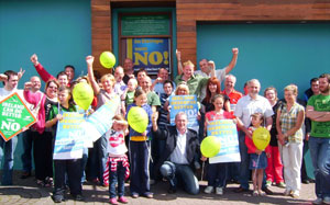 CELEBRATION: Sinn Féin supporters in Donegal celebrate the 'No' vote