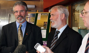 ANNOUNCEMENT: Sinn Féin's Gerry Adams and Francie Brolly MLA give a media briefing on the £6 million boost for the Irish Language Broadcast Fund
