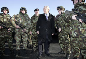 BOUND FOR CHAD: Defence Forces personnel during a visit by Chief of Staff Lieutenant General Dermot Earley and then Taoiseach Bertie Ahern as they prepare for deployment with EUFOR
