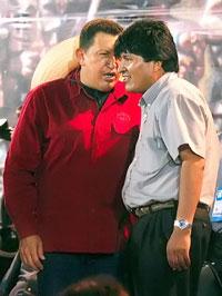 ALLY: Venezuela's Hugo Chavez with Evo Morales
