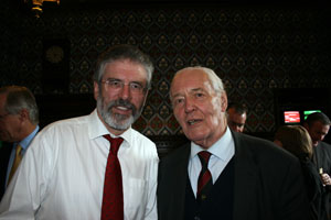 FRIEND OF IRELAND: Former Labour minister Tony Benn, fresh from his Dublin visit to back the 'No to Lisbon' campaign, with Gerry Adams in Westminster