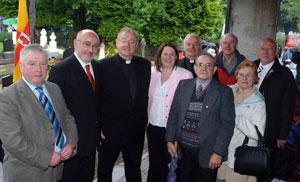 Michelle Gildernew MP with Chair of Cavan County Council Charlie Boylan (left), Caoimhghín Ó Caoláin TD, Fr Seán McManus and John Owens (foreground) with Fr Jim, Frank, Myles and Mary Kate           (PICTURES Pat Reilly)
