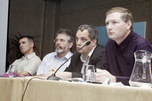 PLATFORM: Declan Kearney, Gerry Adams, Aengus Ó Snodaigh and Martin Kenny