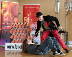 PUTTING ON A SHOW: Jim Hughes and Peter Hunter provide some of the fun of Féile at the launch