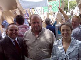 PROTEST: Sinn Féin MEP Bairbre de Brún and Councillor Pádraig Mac Lochlainn with North Louth/South Armagh farmer Henry McIlroy outside Government Buildings on Monday