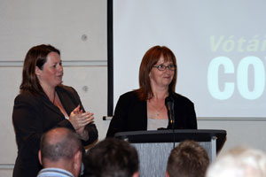 Michelle Gildernew and Debbie Coyle at the Enniskillen selection convention