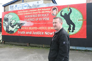 Patrick Adams at the new Pearse Jordan mural