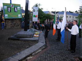 Pat Rehill lays a wreath on behalf of Republican Movement at the John Joe McGirl monument