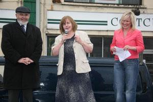 Francie Molloy,  Bernadette McAliskey and Sinn Féin MLA Michelle O'Neill