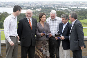 ON THE HILL: Senator Pearse Doherty and TDs Caoimhghín Ó Caoláin, Martin Ferris, Arthur Morgan and Aengus Ó Snodaigh go through the agenda with MEP Mary Lou McDonald
