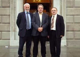 Francie Brolly, Aengus Ó Snodaigh and Barry McElduff outside Leinster House