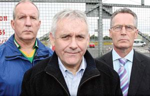 Bobby Storey, Brendan 'Bik' McFarlane and Gerry Kelly outside Long Kesh