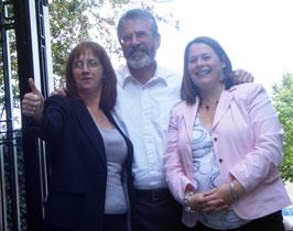 Sinn Féin's Debbie Coyle with Gerry Adams and Michelle Gildernew MP