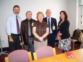 MEETING: Sinn Féin's Gerry Adams and Jennifer McCann with the parents and uncle of Damien Walsh