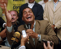 MANDATE: A joyous President Rafael Correa after his party's 2007 poll win