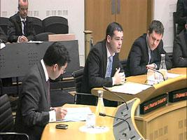 Sinn Féin Senator Pearse Doherty addresses the Oireachtas sub committee