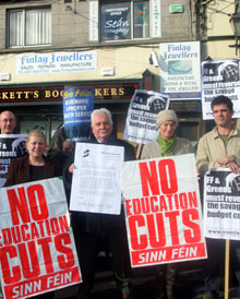 Protest by Dublin North Central and Dublin North East Sinn Féin against the education cuts