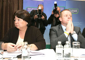 THE PARTY'S OVER: Mary Harney and PD leader Ciarán Cannon give the PDs the Last Rites at the weekend