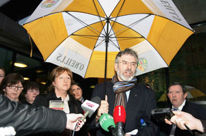 Gerry Adams pictured after the press conference with the families of those killed in the Ballymurphy Massacre