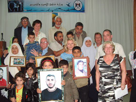 CHILDREN OF CONFLICT: Aengus with the families of Palestinian prisoners jailed by Israel