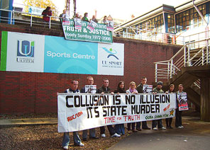 COLLUSION PROTEST: Magee Campus, University of Ulster, Derry.
