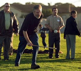 Sinn Féin President Gerry Adams plays hurling at the new GAA grounds on Treasure Island in San Francisco