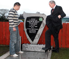 Christopher McNally with Martin McGuinness at the unveiling of memorial to Phelim McNally
