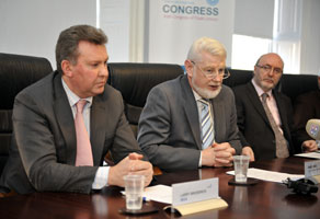 UNITED: Union leaders Larry Broderick, David Begg and Jerry Shanahan offer the media a rarely-heard solution – nationalise the banks